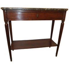19th Century French Walnut Console Table with Gray Marble Top
