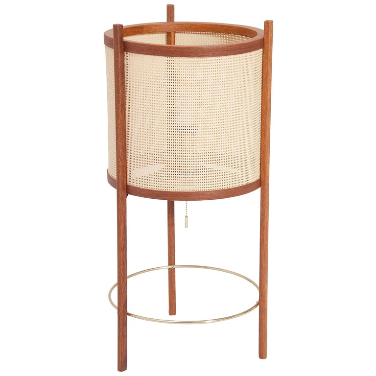 Delicat Brazilian Contemporary Wood and Straw Table Lamp by Lattoog
