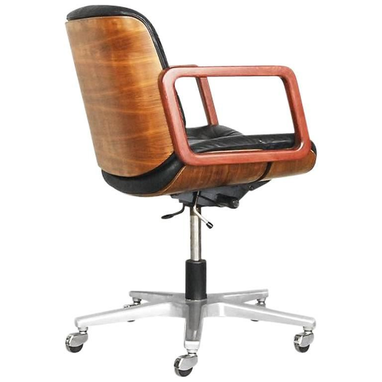 Charmant Leather Swivel Office Chair By Gordon Russel For Giroflex, 1970s