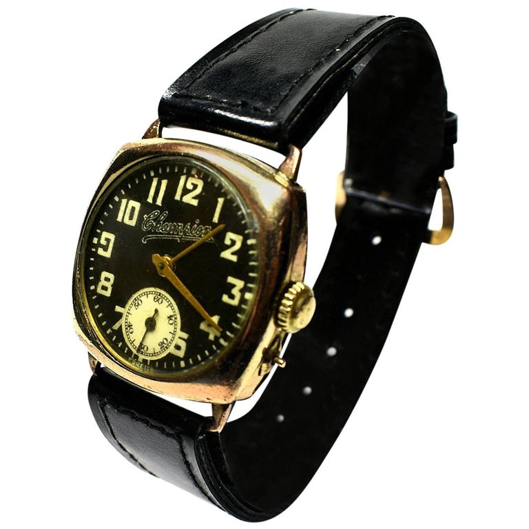 1930s Champion Art Deco Men's Gold-Plated Cushion Watch