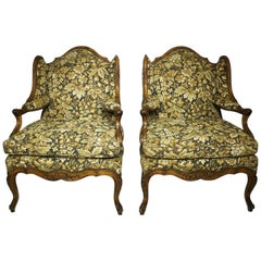 Fine Pair of French Louis XV Style Carved Walnut Wingback Fauteuil Armchairs