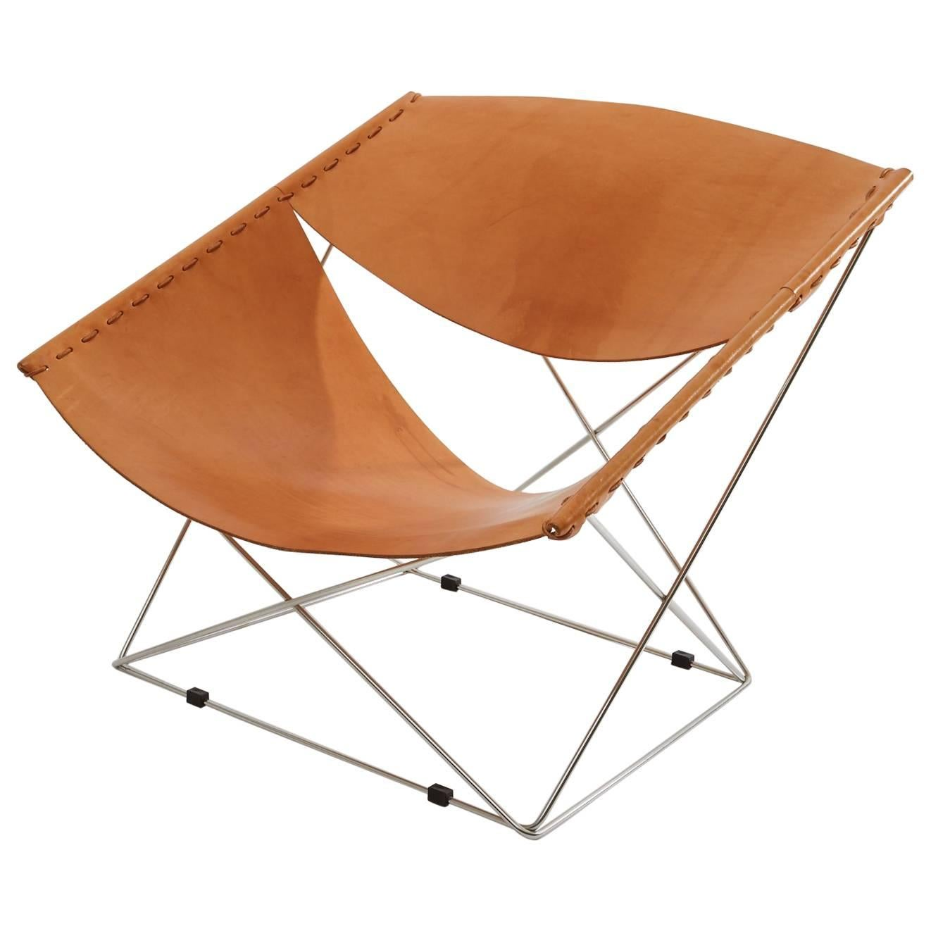 Delicieux Pierre Paulin Artifort Butterfly Lounge Chair In Natural Leather And Chrome