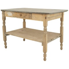 American Country Rustic Weathered Work Table