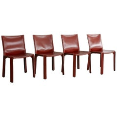 Cassina Cab Side Chairs in Red Leather