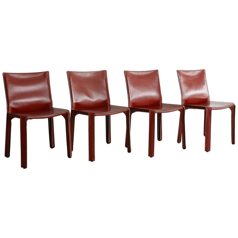 Cassina Cab Side Chairs in Red Leather For Sale