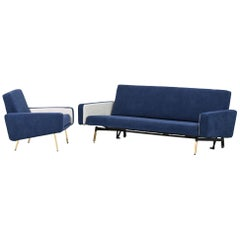 Set of Pierre Guariche Sofa Bed and Pair of Armchairs for Airborne French Design