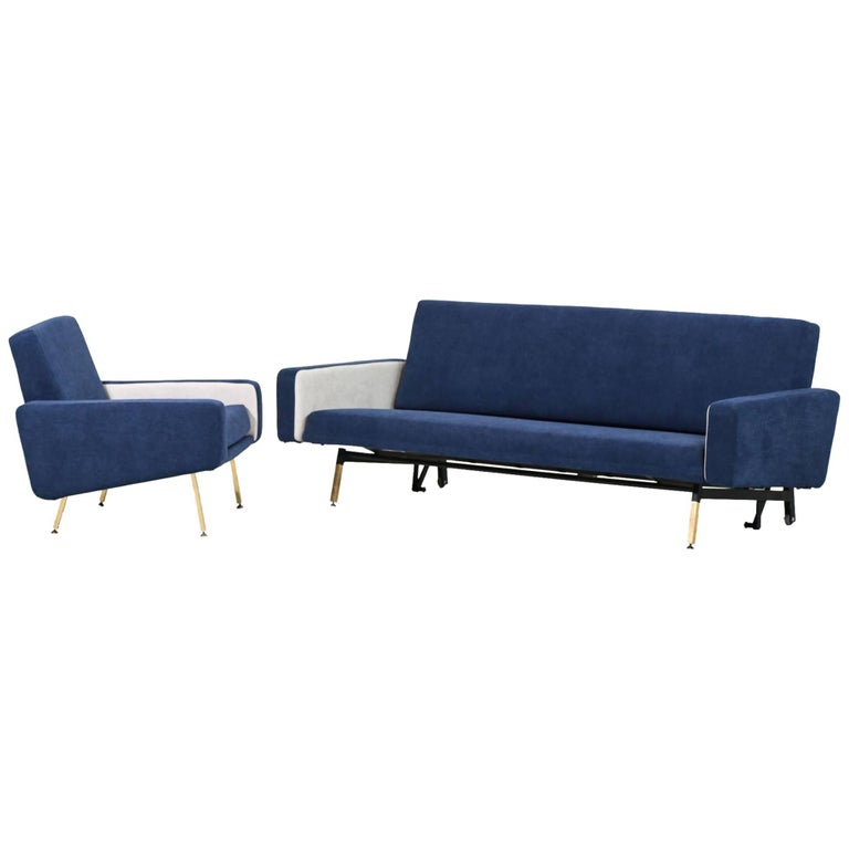 Set of Pierre Guariche Sofa Bed and Pair of Armchairs for Airborne French Design For Sale