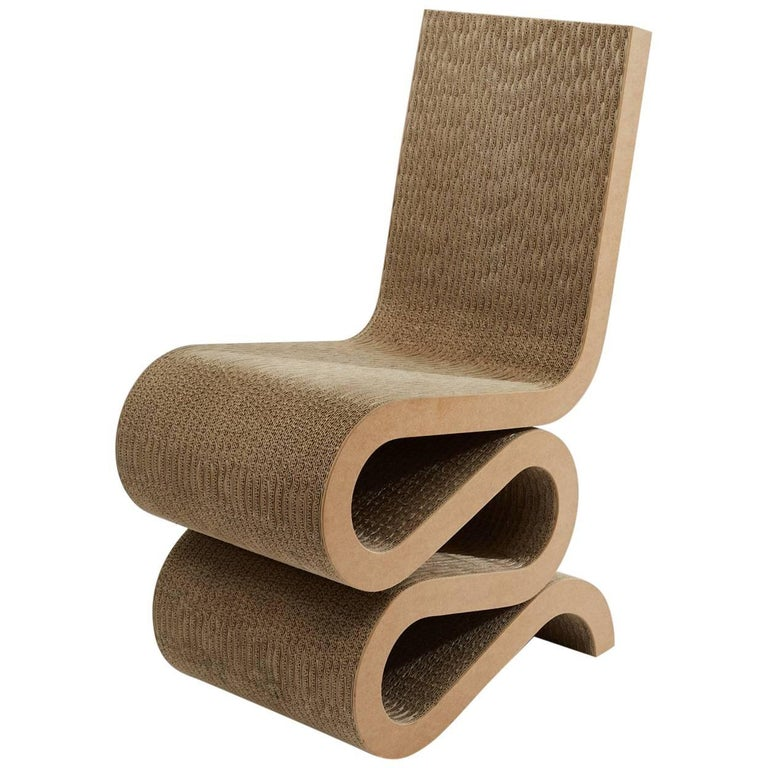 Frank Gehry Wiggle side chair in cardboard, 1972. Offered by Uber Modern