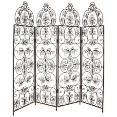 Four-Paneled Wrought Iron Screen