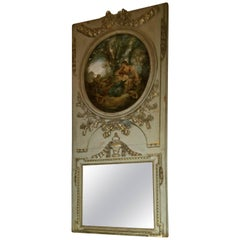 French Trumeau Green and Gold Mirror with a Painted Scene, 19th Century