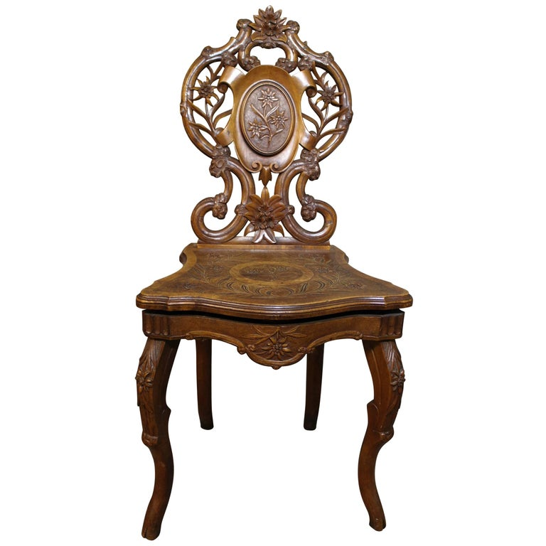 Swiss Brienz Carved and Marquetry Walnut Musical Chair