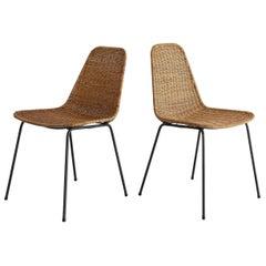 Pair of Carlo Graffi Wicker and Iron Chairs