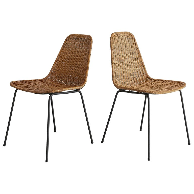 Pair of Carlo Graffi Wicker and Iron Chairs For Sale