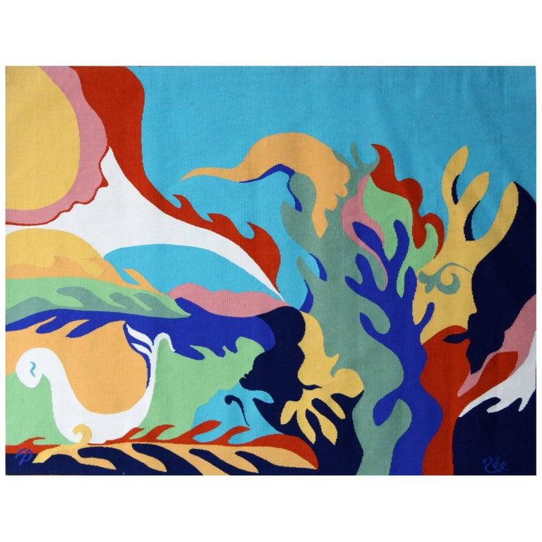 'Il Revient… des Visages' Wall Tapestry by Paulette Née & Pinton For Sale