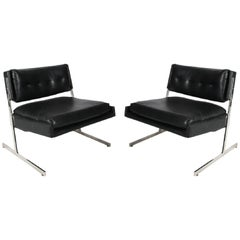 Pair of Milo Baughman Style Leather Chairs