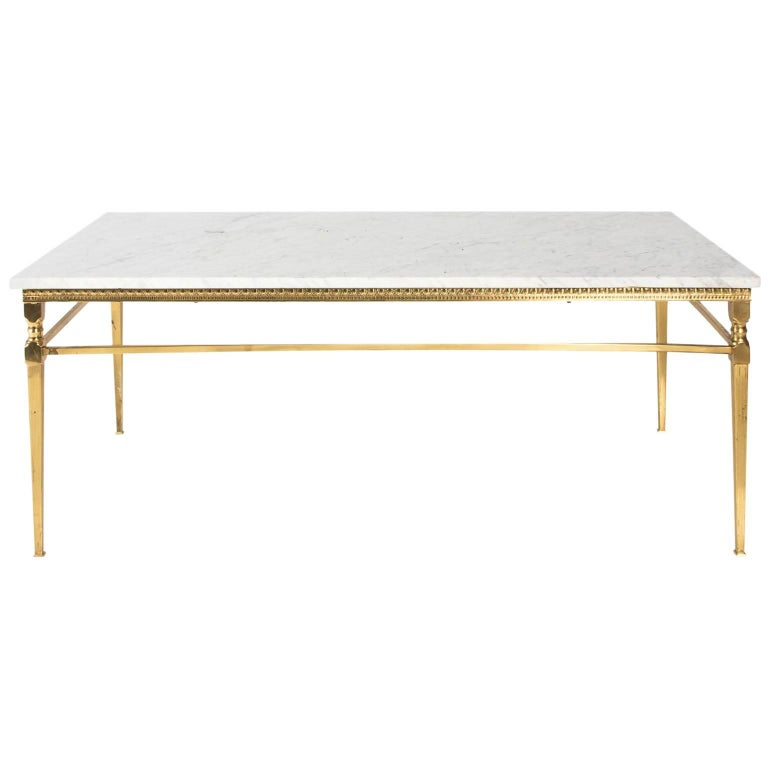 Brass and Marble Top Coffee Table
