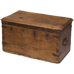 Strongbox Chest with Four Locks, Walnut and Iron, 16th-17th Centuries