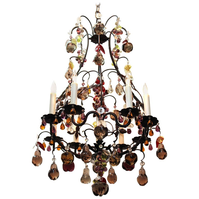 Hollywood Regency Chandelier with Colorful Fruit Crystal Pendants