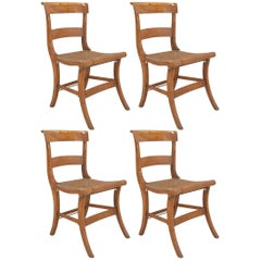 Set of Four American Country Federal Style, 19th Century Tiger Maple Side Chairs