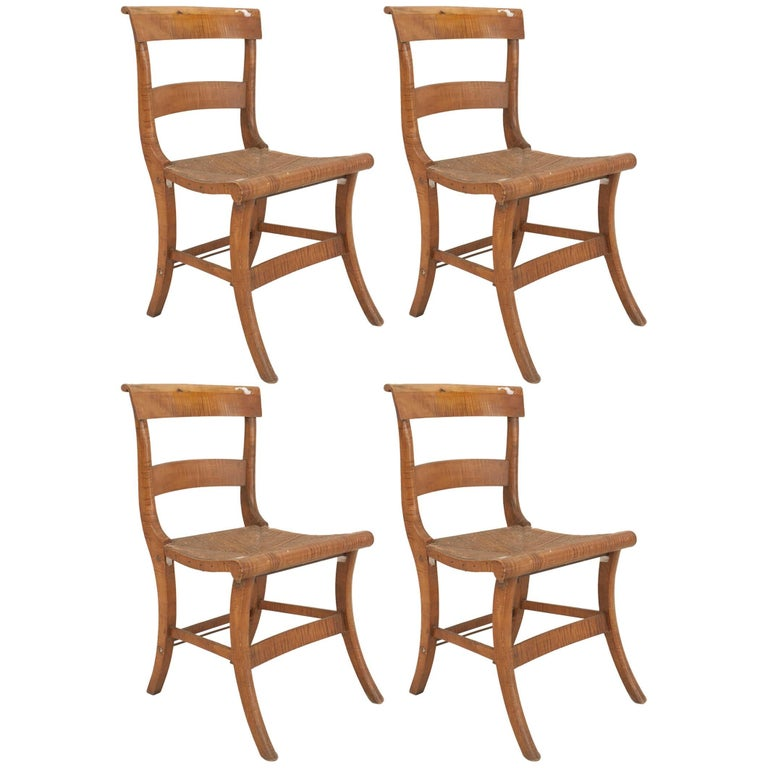 Set of Four American Country Federal Style 19th C. Side Chairs For Sale
