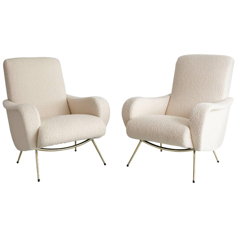 Pair of Italian Marco Zanuso Style Lounge Chairs in Wool Bouclé For Sale