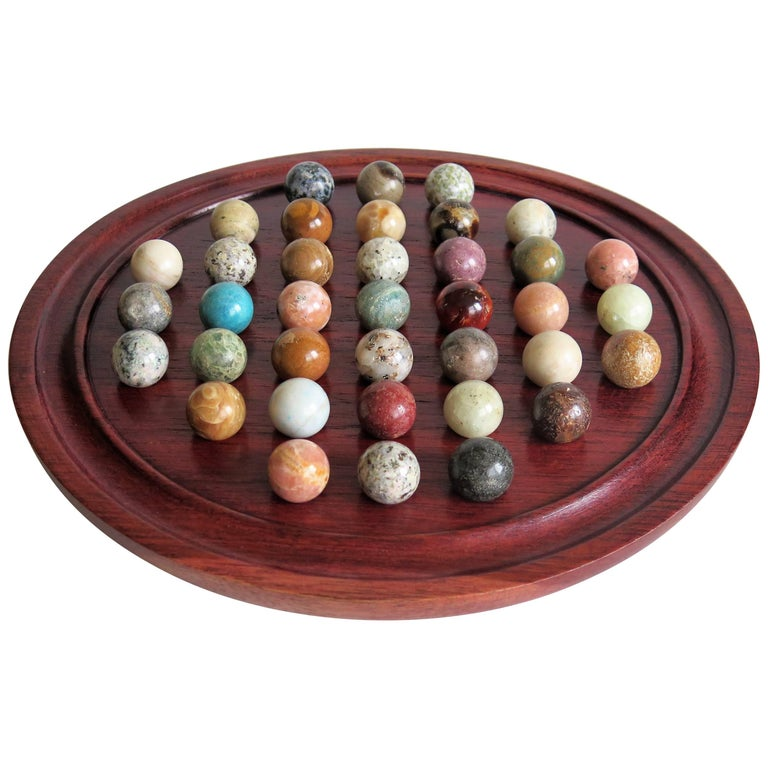 Edwardian Marble Solitaire Board Game with 37 Agate Stone Marbles, circa 1910