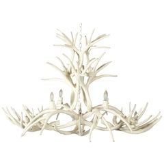 White Painted Horn Chandelier