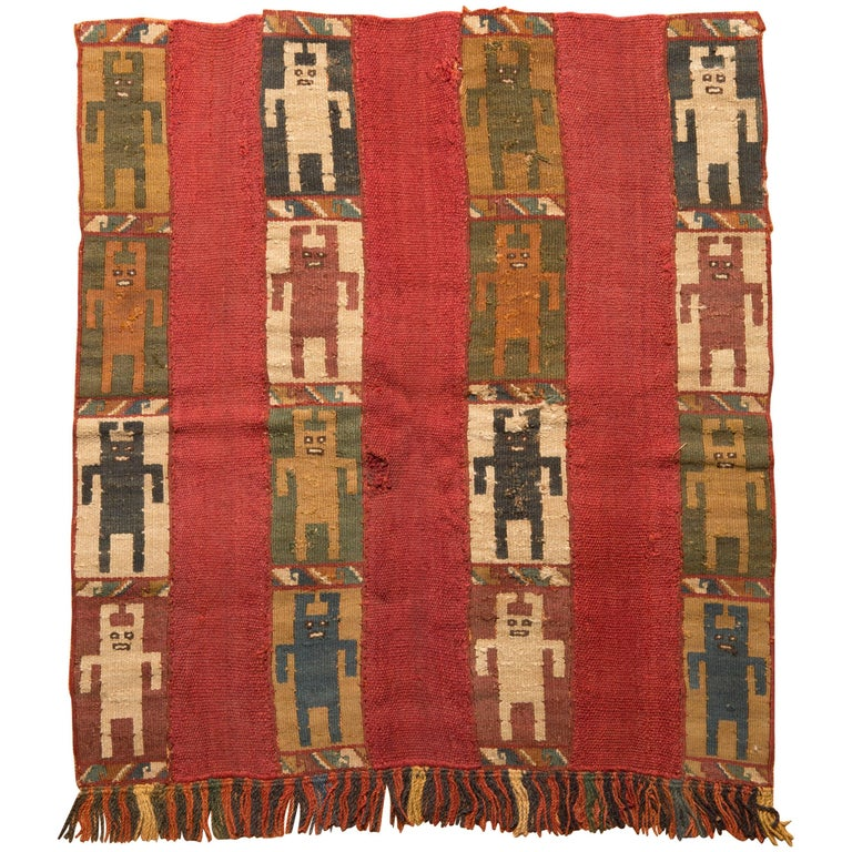 Pre-Columbian Inca Mantle with 16 Figures, Peru, 1476-1534 AD For Sale