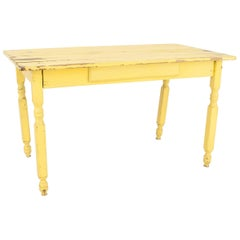 American Country Rustic Style, 19th Century Yellow Painted Work or Dining Table
