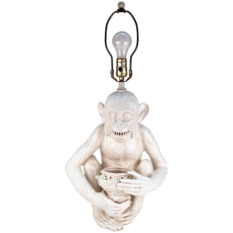 Hollywood Regency Ceramic Monkey Table Lamp