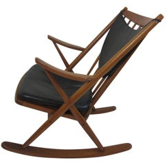 Frank Reenskaug Teak and Leather Rocking Chair by Bramin Mobler