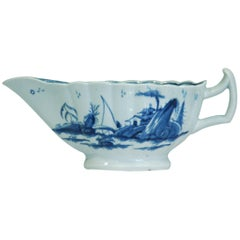 Sauce Boat, Fringed Tree Pattern, Worcester, circa 1755