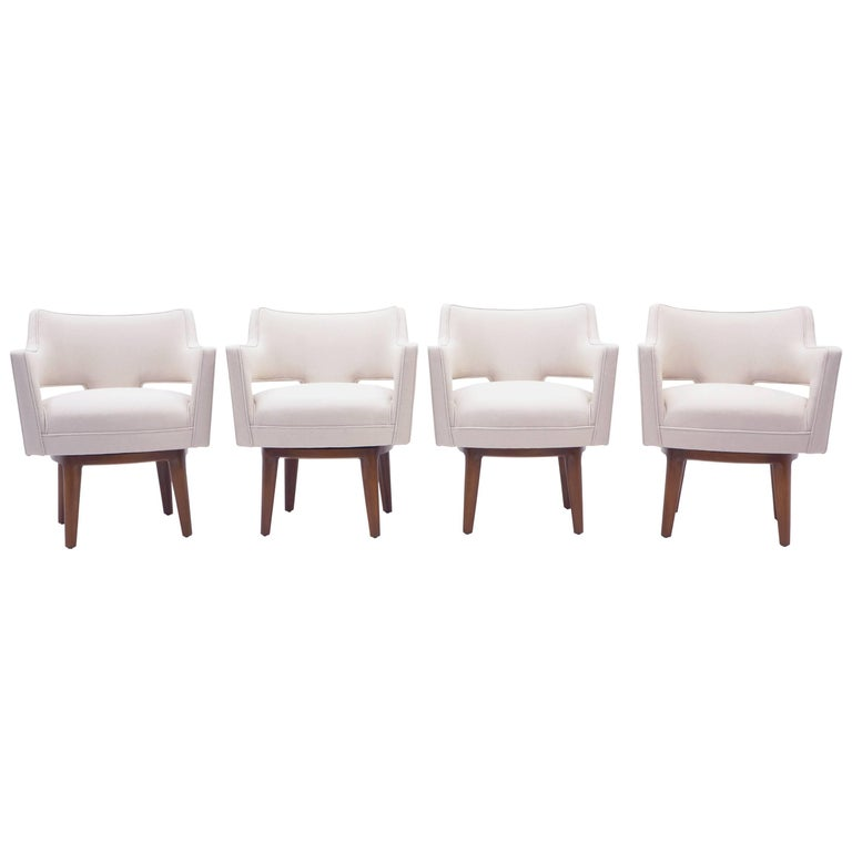 Dunbar Swivel Armchairs by Edward Wormley, Set of Four, Expertly Restored