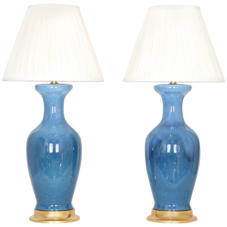 Mid-Century Modern Table Lamp in Blue Glazed Ceramic with Gilt Base