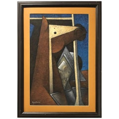 1960s Cubist Textured Painting by Mexican Artist - H Zenteno