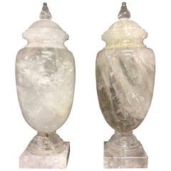 Large Pair of Mid-Century Modern Rock Crystal Quartz Urn Form Cassolettes