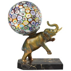 Elephant Single Socket Table Lamp Italian Murano Millefiori Glass Shade / Globe