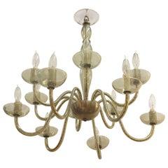 Italian Mid-Century Modern Smoked Glass Chandelier