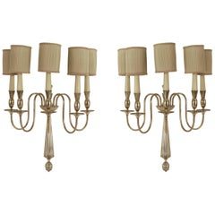Pair of Italian Art Deco Nickelled Bronze Five Scroll Arm Wall Sconces