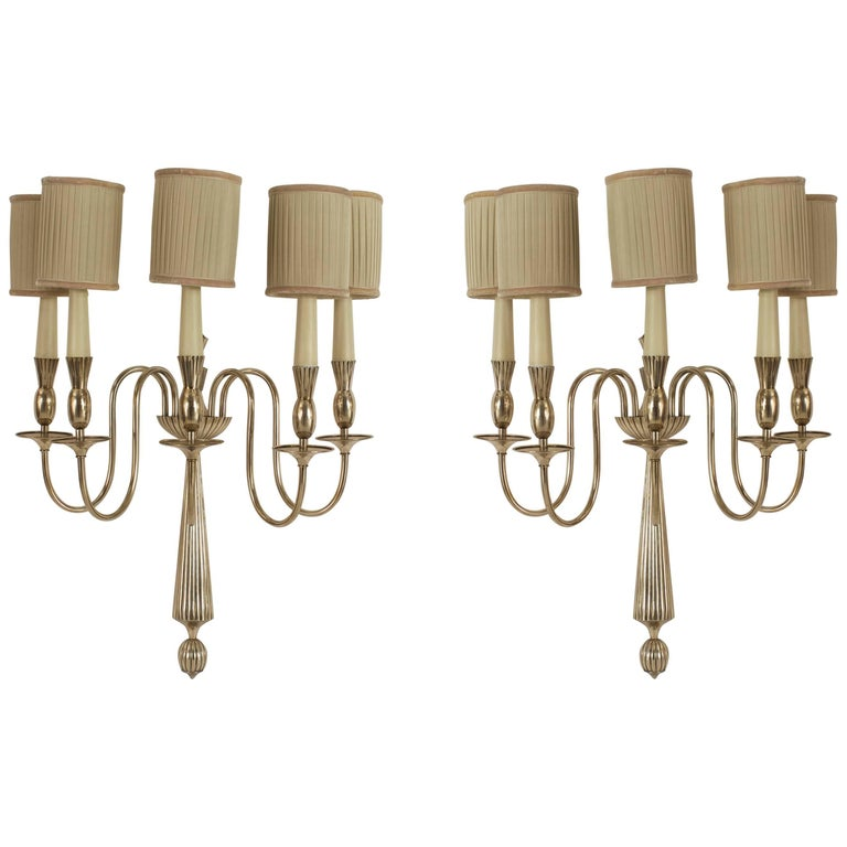 Pair of Italian Art Deco Nickelled Bronze Five Scroll Arm Wall Sconces For Sale