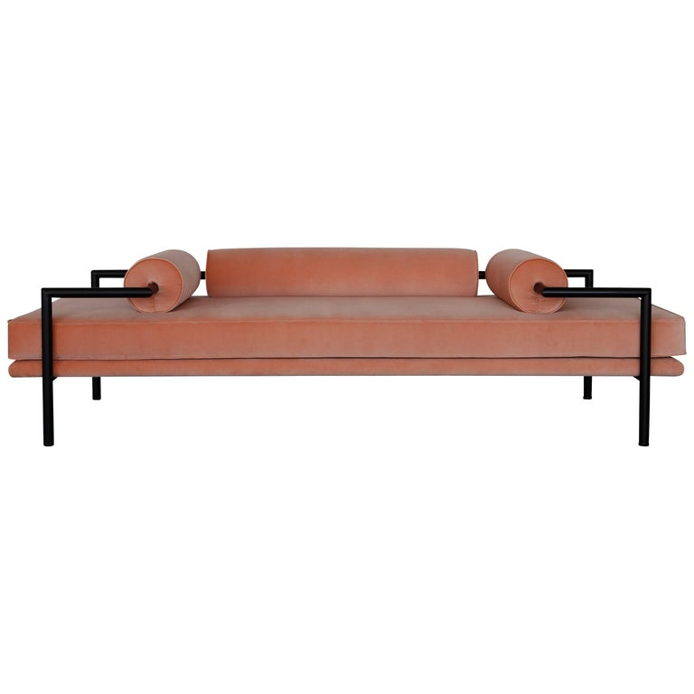 Modern Daybed or Bench in 'Powder' Velvet and Matte Black Frame by Luteca 1