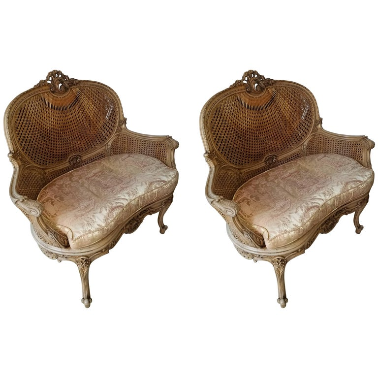 Pair of Louis XVI Natural Wood Settee with Caning Back and Seat, 20th Century