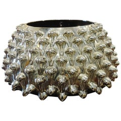 Silver Leaf Glass Spiky Bowl, Italy, Midcentury