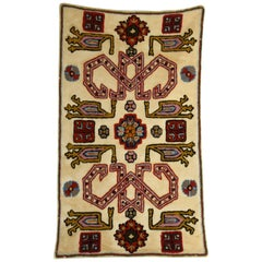 Small Antique Suzani Style Crewel Embroidery Textile Wall Hanging