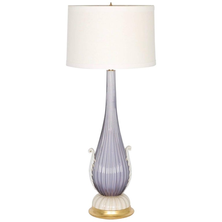 Barovier and Toso Murano Glass Lamp in Lavender with Ribbed Texture
