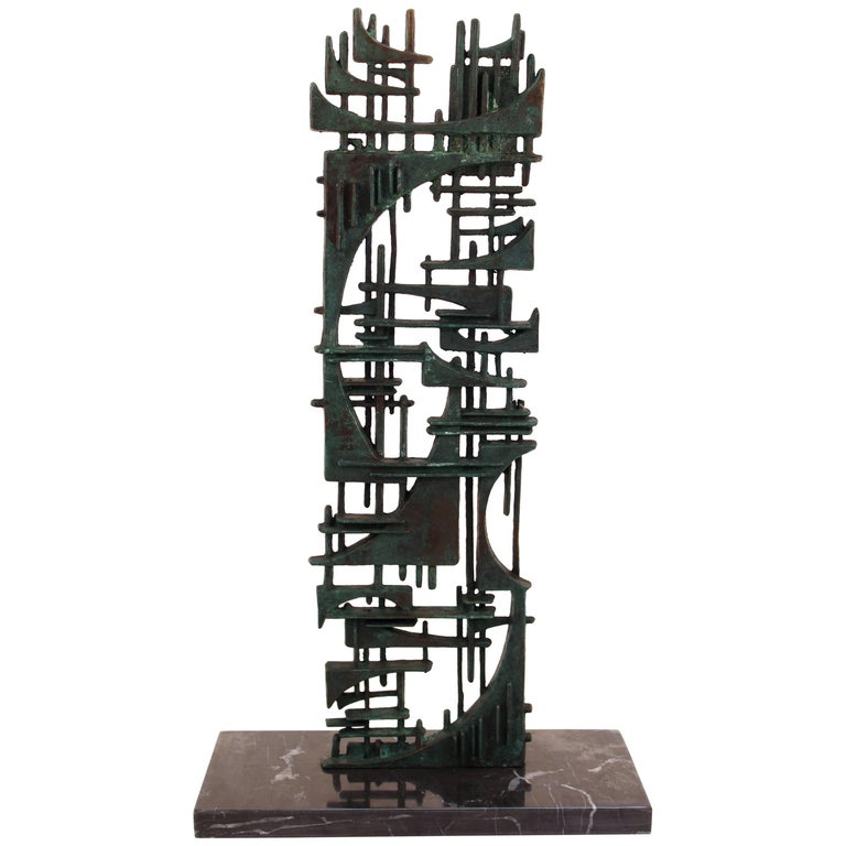 Gunther Gerzso Bronze Abstract Sculpture on Marble Base