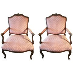 Pair of Louis XVI Oak and Upholstered Armchairs or Bergere, 20th Century