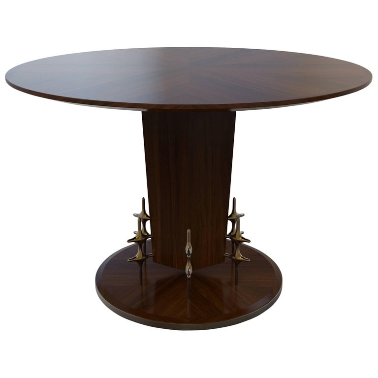 Custom Wood and Bronze Ico Centre Table from William Collins Collection For Sale