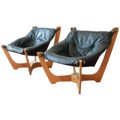 Pair of Odd Knutsen Teak Luna Chairs in Green Aniline Leather