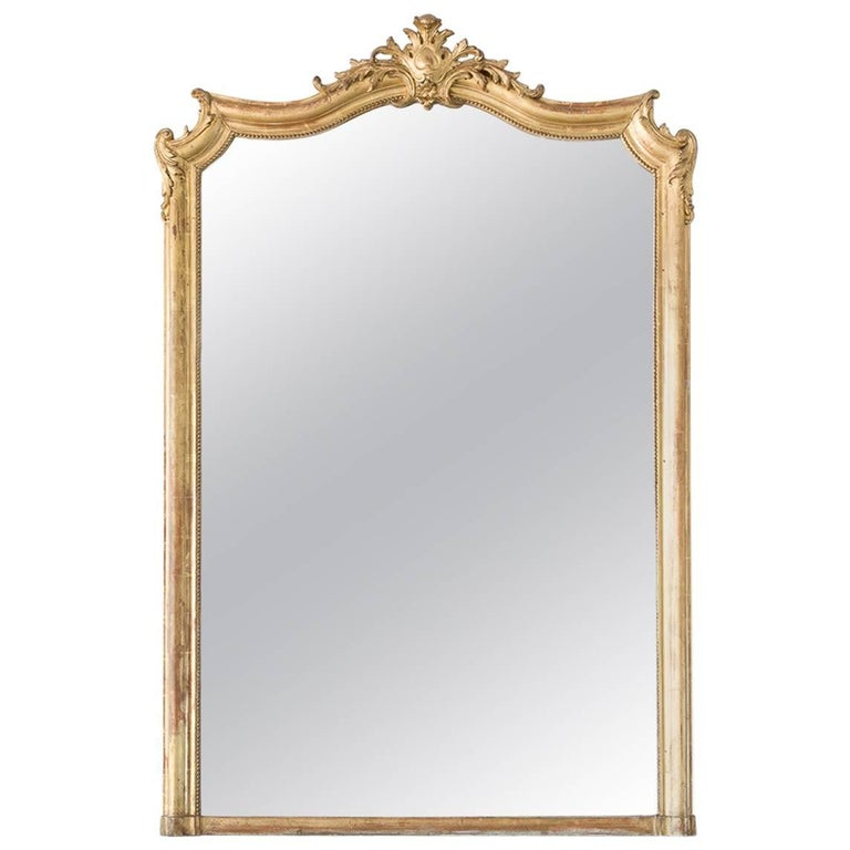 Antique Mirror with Beading and Gilt, 1880
